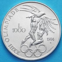 Сан Марино 1000 лир 1984 год. Олимпиада в Лос Анжелесе. Серебро.