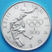 Сан Марино 500 лир 1984 год. Олимпиада в Лос Анжелесе. Серебро.