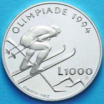 Сан Марино 1000 лир 1994 год. Олимпийские игры 1994. Серебро.