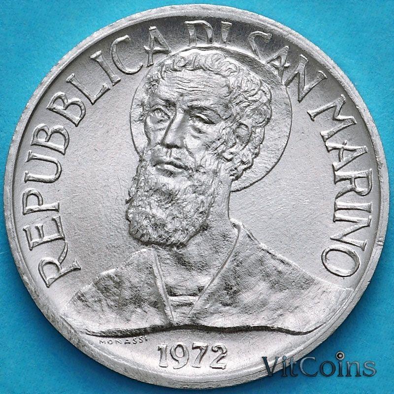 Монета Сан Марино 1 лира 1972 год. Святой Мартин.