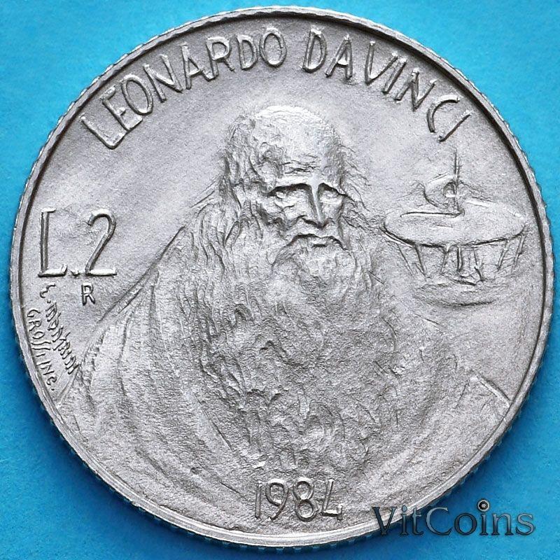 Монета Сан Марино 2 лиры 1984 год. Леонардо да Винчи