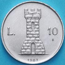 Сан Марино 10 лир 1987 год. 15 лет возобновлению чеканке монет.