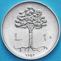 Сан Марино 1 лира 1987 год. 15 лет возобновлению чеканки лиры.