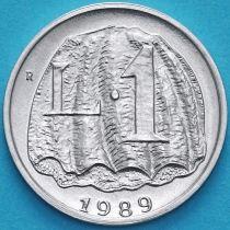 Сан Марино 1 лира 1989 год. Морская ракушка со скал Монте-Титано