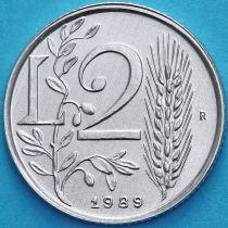 Сан Марино 2 лиры 1989 год. Стебель пшеницы и оливковая ветвь