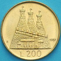 Сан Марино 200 лир 1987 год. 15 лет возобновлению чеканке монет