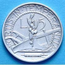Сан Марино 5 лир 1935 год. Серебро.
