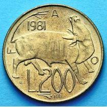 Сан Марино 200 лир 1981 год. ФАО