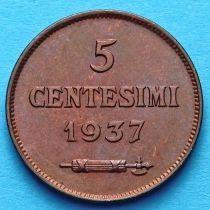 Сан Марино 5 чентезимо 1937 год