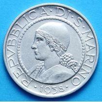 Сан Марино 5 лир 1938 г. Серебро