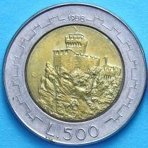Сан Марино 500 лир 1988 год. Башня Гуаито.