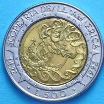 Сан Марино 500 лир 1992 год. 500 лет открытию Америки.