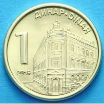 Сербия 1 динар 2016 год. Национальный банк.