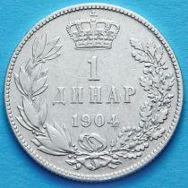 Сербия 1 динар 1904 год. Серебро.