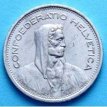 Швейцария 5 франков 1950 год. Вильгельм Телль. Серебро