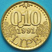 Словения 0.10 липа 1991 год.