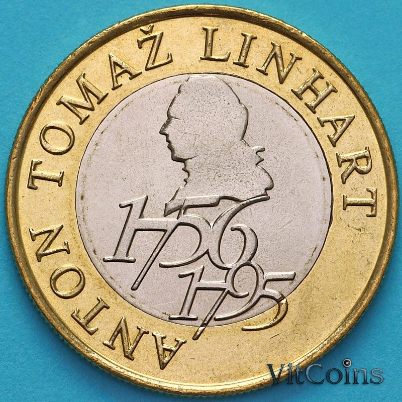 Монета Словения 500 толаров 2006 год. Антон Томаж Линхарт.