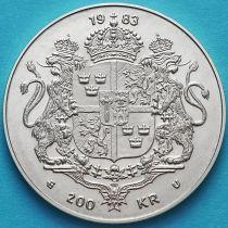 Швеция 200 крон 1983 год. 10 лет правления. Серебро