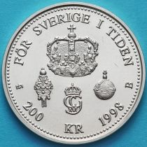 Швеция 200 крон 1998 год. 25 лет правления. Серебро