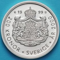 Швеция 200 крон 1999 год. Миллениум. Серебро