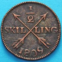 Швеция 1/2 скиллинга 1809 год.