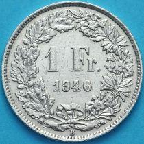 Швейцария 1 франк 1946 год. Серебро.