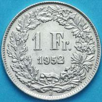 Швейцария 1 франк 1952 год. Серебро.