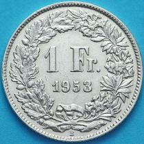 Швейцария 1 франк 1953 год. Серебро.