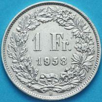 Швейцария 1 франк 1958 год. Серебро.