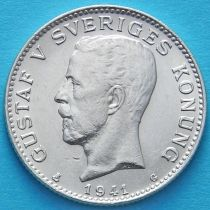 Швеция 1 крона 1941 год. Серебро.