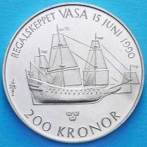 """Швеция 200 крон 1990 год. Боевой корабль """"Васа"""".  Серебро"""