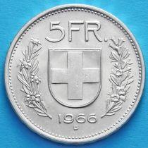 Швейцария 5 франков 1966 год. Вильгельм Телль. Серебро