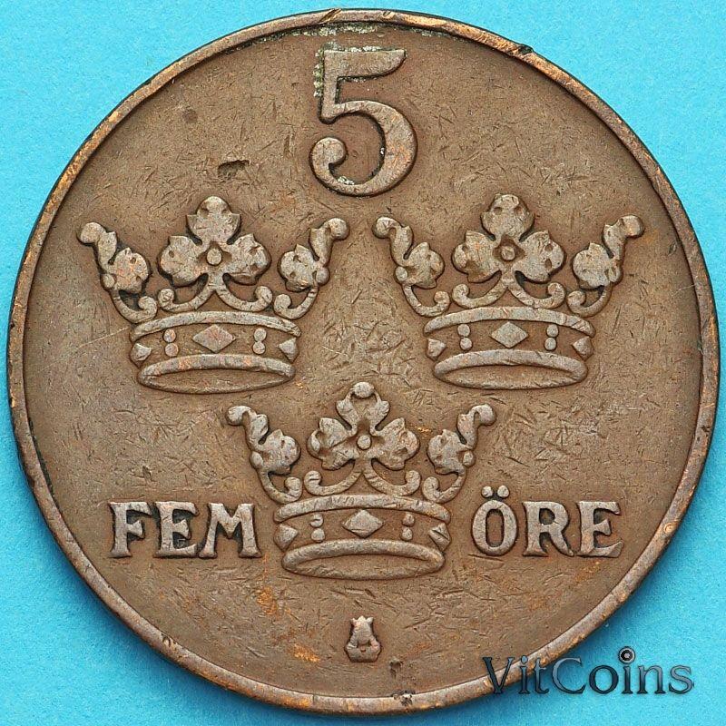 Монета Швеция 5 эре 1919 год.
