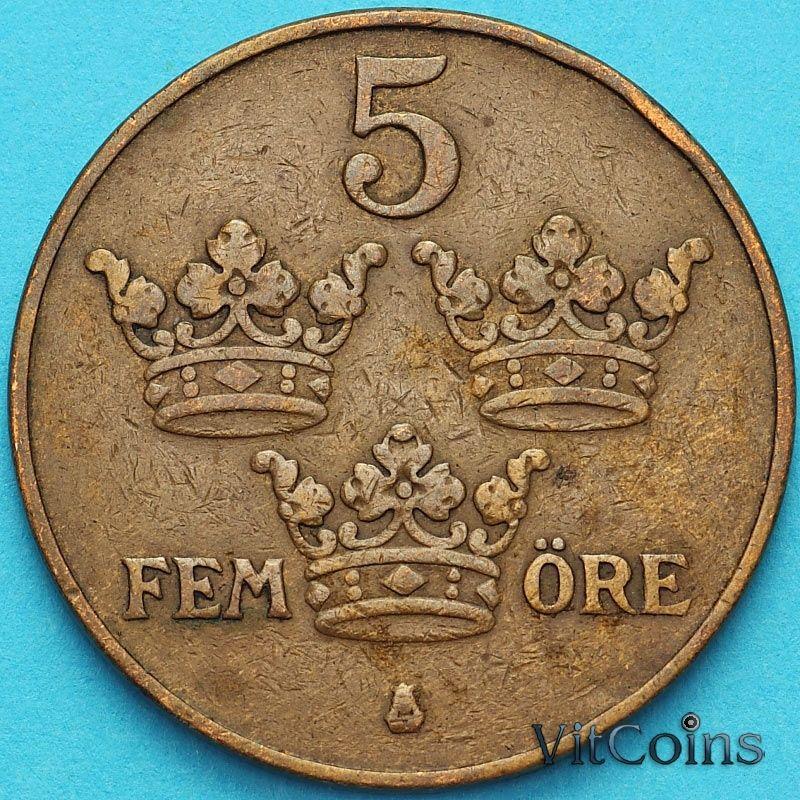 Монета Швеция 5 эре 1924 год.
