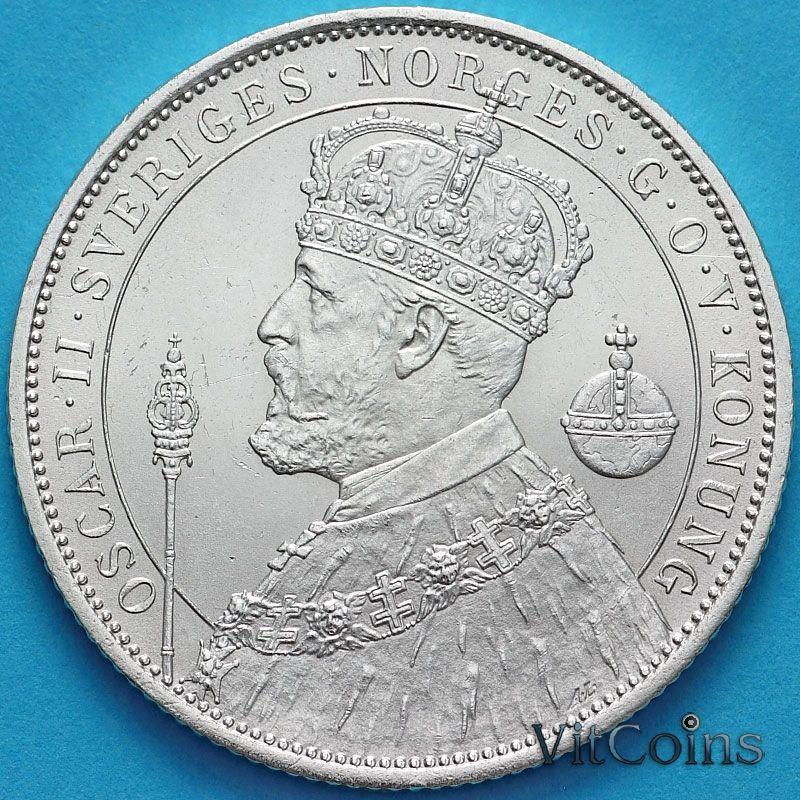 Монета Швеция 2 кроны 1897 год. 25 лет правления Оскара II. Серебро