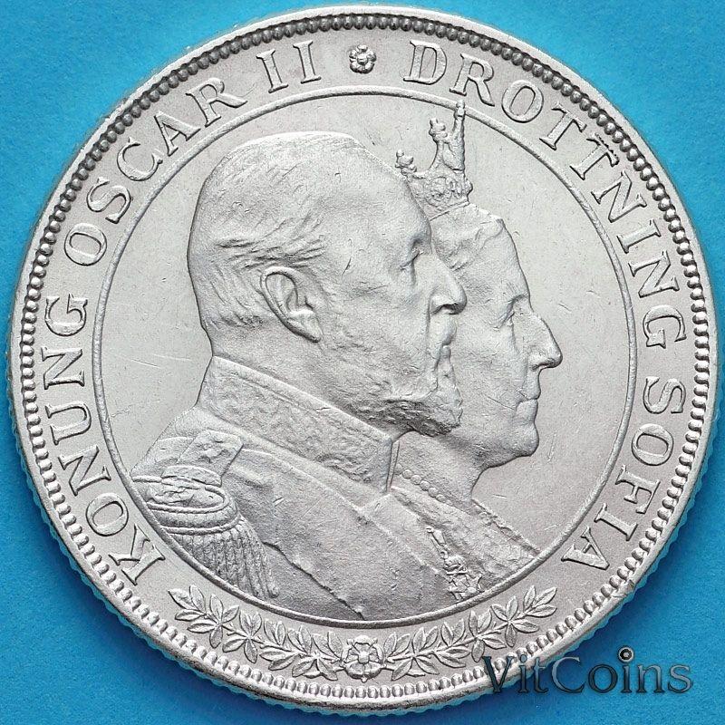 Монета Швеции 2 кроны 1907 год. Серебро.