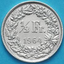 Швейцария 1/2 франка 1964 год. Серебро.