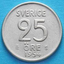 Швеция 25 эре 1953-1960 год. Серебро. TS.