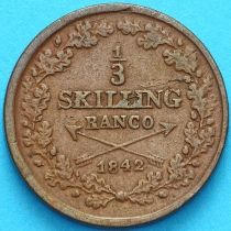 Швеция 1/3 скиллинга 1842 год.