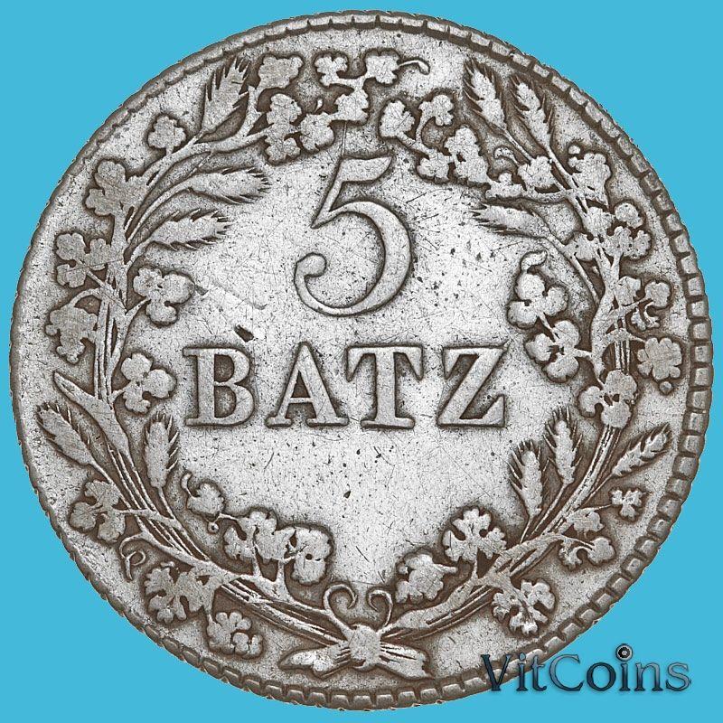 Монета Швейцария, Кантон Во 5 батцен 1812 год. Серебро.