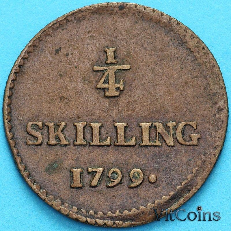 Монета Швеция 1/4 скиллинга 1799 год.
