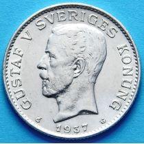 Швеция 1 крона 1937 год. Серебро.