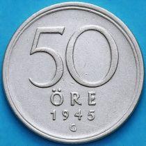 Швеция 50 эре 1945 год. Серебро