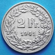 Швейцария 2 франка 1941 год. Серебро.