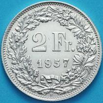 Швейцария 2 франка 1957 год. Серебро.