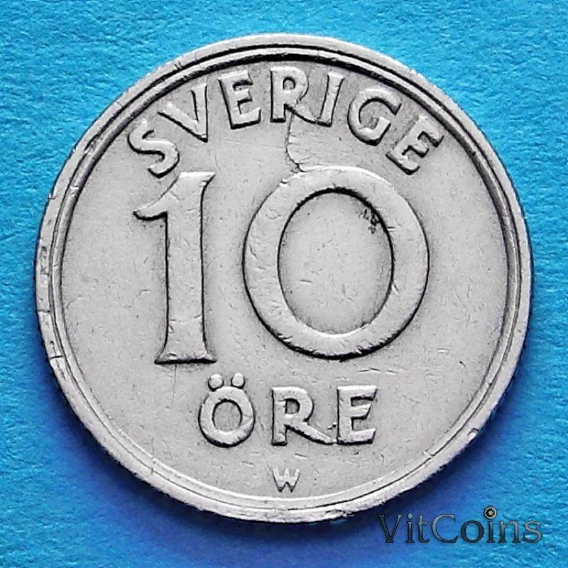 Швеция монета 10 эре 1921 год. W