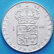 Швеция 1 крона 1961-1965 год. Густав VI Адольф. Серебро