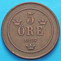 Швеция 5 эре 1907 год.
