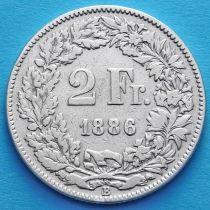 Швейцария 2 франка 1886 год. Гельвеция с копьем. Серебро.