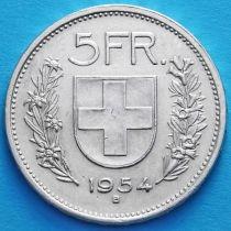 Швейцария 5 франков 1954 год. Вильгельм Телль. Серебро